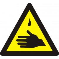 """Знак попереджувальний """"Обережно! Їдкі речовини"""" 130 мм."""