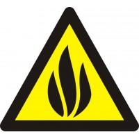 """Знак попереджувальний  """"Обережно! Вогненебезпечні речовини"""" 150 мм."""